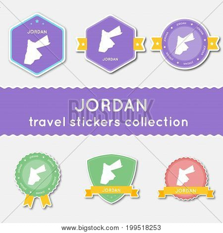Jordan Travel Stickers Collection. Big Set Of Stickers With Country Map And Name. Flat Material Styl