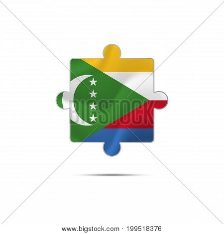 Isolated piece of puzzle with the Comoros flag. Vector illustration.