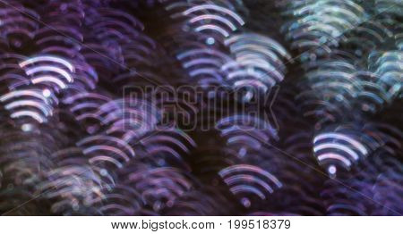 Beautiful Background With Different Colored  Wifi, Abstract Background, Wifi Shapes On Black Backgro