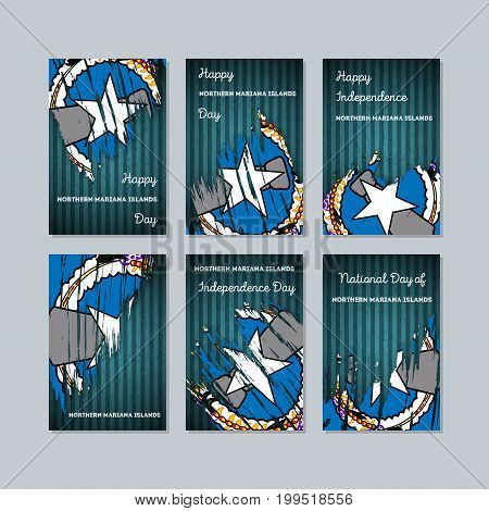 Northern Mariana Islands Patriotic Cards For National Day. Expressive Brush Stroke In National Flag