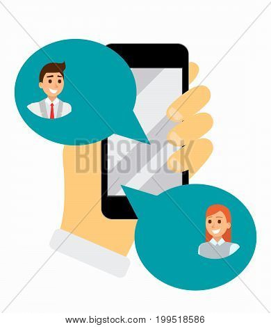 Chatting on phone via application, online conversation in internet. Messaging using mobile phone, flat vector illustration. Social network. Hand holds cell phone. bubble messages in app.
