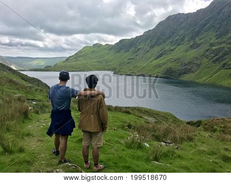 Make hikers in Welsh Mountains