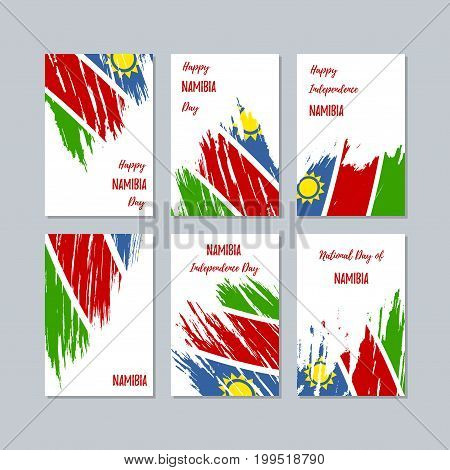 Namibia Patriotic Cards For National Day. Expressive Brush Stroke In National Flag Colors On White C