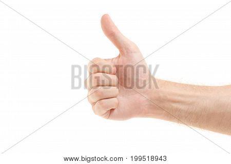 Man's hand holding tiny emotions good super on white background isolation