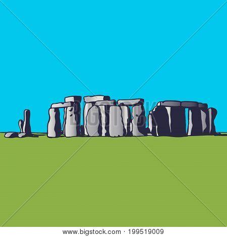 Stonehenge. Landmark of England. Megalithic monument for religious ceremonies. Vector illustration.