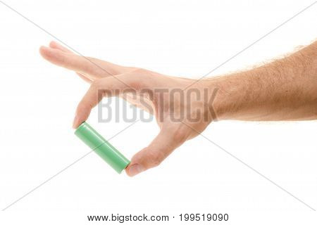 18650 batteries in a male hand on a white background isolation