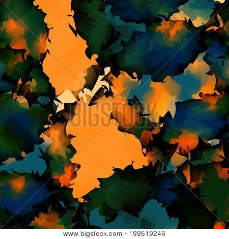 Orange Green Blue Watercolor Texture Background. Pretty Abstract Orange Green Blue Watercolor Textur