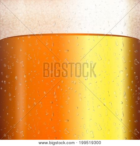 Beer with transparent bubble on mug. Yellow liquid 3d realistic vector illustration. Cold beer texture with condensate