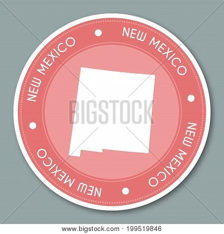 New Mexico Label Flat Sticker Design. Patriotic Us State Map Round Lable. Round Badge Vector Illustr