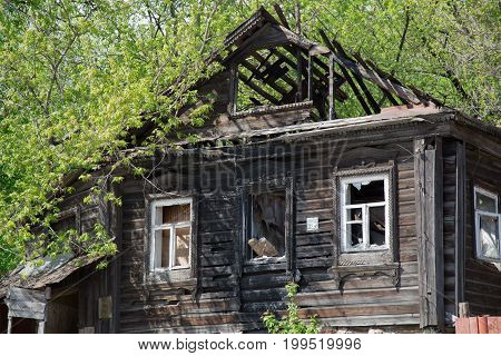 Abandon traditional russian village wood house facade