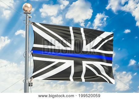 Thin Blue Line. Black Flag of UK with Police Blue Line 3D rendering
