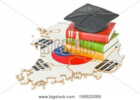 Education in South Korea concept 3D rendering isolated on white background
