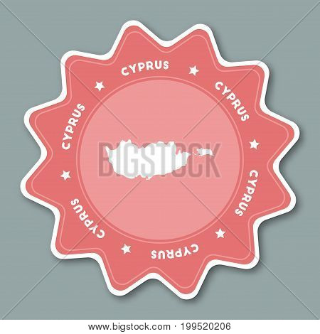 Cyprus Map Sticker In Trendy Colors. Star Shaped Travel Sticker With Country Name And Map. Can Be Us