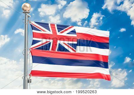 Hawaii flag waving in blue cloudy sky 3D rendering