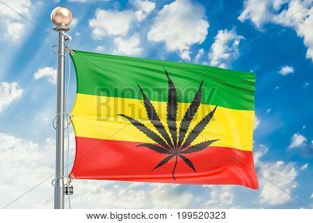 Rasta Flag Cannabis leaf on rastafarian flag. 3D rendering