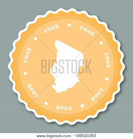 Chad Sticker Flat Design. Round Flat Style Badges Of Trendy Colors With Country Map And Name. Countr