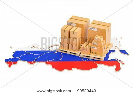 Shipping and Delivery from Russia isolated on white background