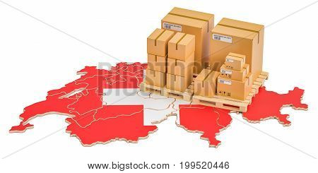 Shipping and Delivery from Switzerland isolated on white background