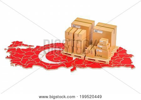 Shipping and Delivery from Turkey isolated on white background