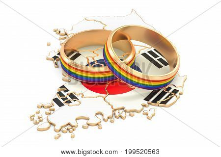 South Korea map with LGBT rainbow rings 3D rendering