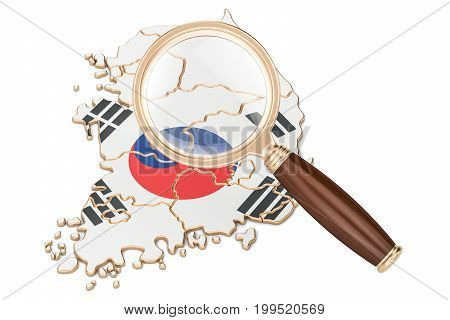South Korea under magnifying glass analysis concept 3D rendering isolated on white background