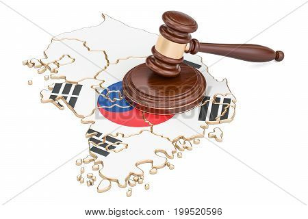 Wooden Gavel on map of South Korea 3D rendering isolated on white background