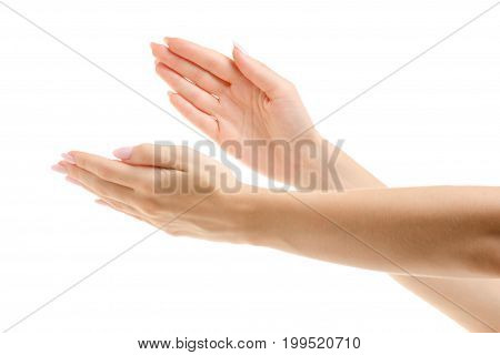 Female hand gestures emotions applause on a white background isolation