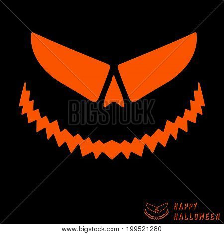 Halloween scary pumpkin template. Jack-o-lantern stencil layout. Design for cover brochures flyer party and greeting card. Vector illustration.