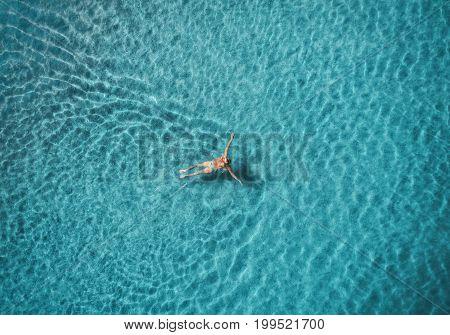 Aerial View Of Swimming Woman In Mediterranean Sea