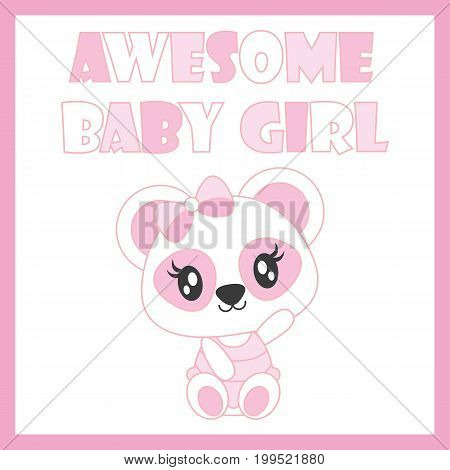 Cute baby panda welcome baby girl vector cartoon illustration for baby shower card design, kid t shirt design, and wallpaper