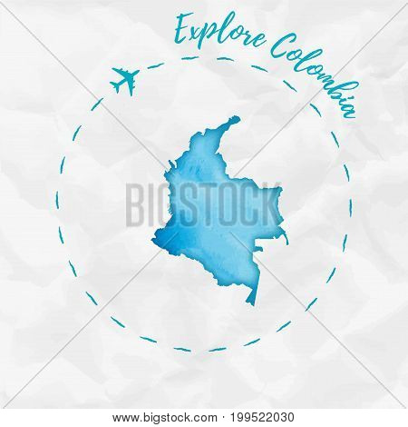 Colombia Watercolor Map In Turquoise Colors. Explore Colombia Poster With Airplane Trace And Handpai