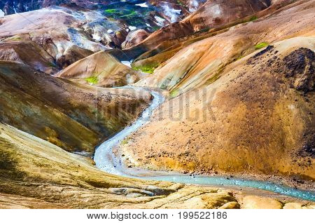Colorful volcanic geothermal hot spring field Kerlingafjoll Iceland
