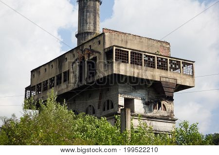 Abandoned and destroyed by war Tquarchal (Tkvarcheli) power plant, Abkhazia