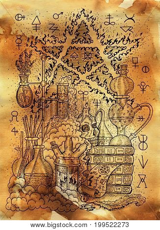 Mystic illustration with alchemical symbols, skull, fire pentagram and laboratory equipment on old paper background. Occult and esoteric drawing, gothic and wicca concept poster