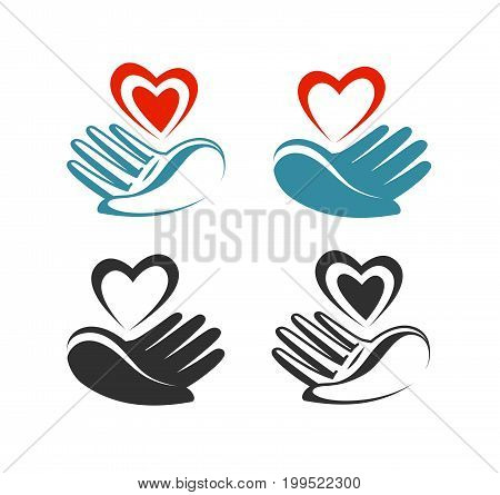 Health, donation, charity logo or label. Hand holding heart symbol. Vector illustration isolated on white background
