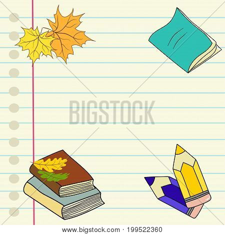 Hand drawn vector illustration back to school lined notebook page colored pencils pile of books maple oak leaves boarder blank copyspace for text