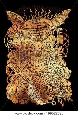 Mystic illustration with scary skull, steampunk and gothic symbols as rose, demon wings, cross, cogs and wheels on old paper background. Occult and esoteric drawing, gothic and wicca concept