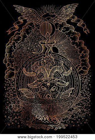 Mystic illustration with spiritual and christian religious symbols as Devil, Eve and Adam, hell and paradise on black background. Occult and esoteric drawing, gothic and wicca concept