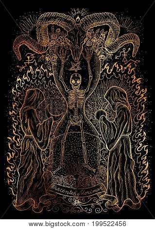 Mystic illustration with human skeleton, monks and spiritual symbols on black background. Occult and esoteric drawing. Latin text Nascentes Morimur means From the moment we are born we begin to die