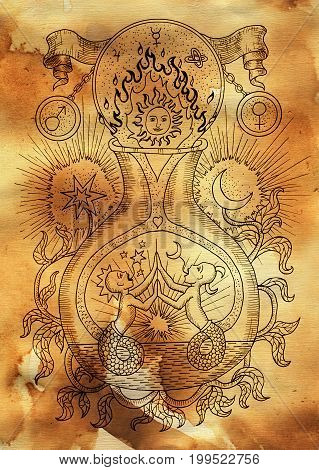 Mystic illustration with spiritual and alchemical symbols, zodiac sign Gemini concept with moon, sun and stars on old paper background. Occult and esoteric drawing, gothic and wicca concept