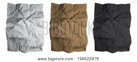 Crumpled paper sheet. Black, white and brown paper textures set. Isolated Vector