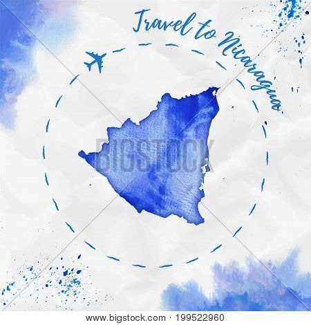 Nicaragua Watercolor Map In Blue Colors. Travel To Nicaragua Poster With Airplane Trace And Handpain