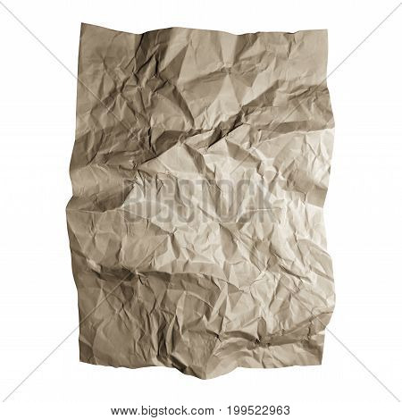 Crumpled craft paper sheet. Brown paper textures isolated on white background