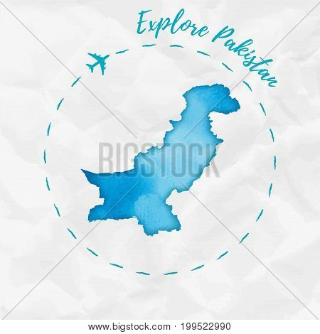 Pakistan Watercolor Map In Turquoise Colors. Explore Pakistan Poster With Airplane Trace And Handpai