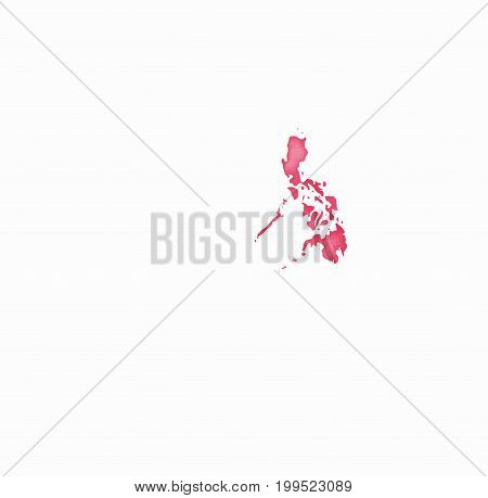 Philippines Watercolor Map In Red Colors. Visit Philippines Poster With Airplane Trace And Handpaint