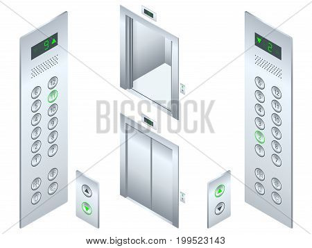 Isolated flat illustration Open and closed chrome metal office building elevator doors realistic hall interior and button panel. Isometric Elevator design set.