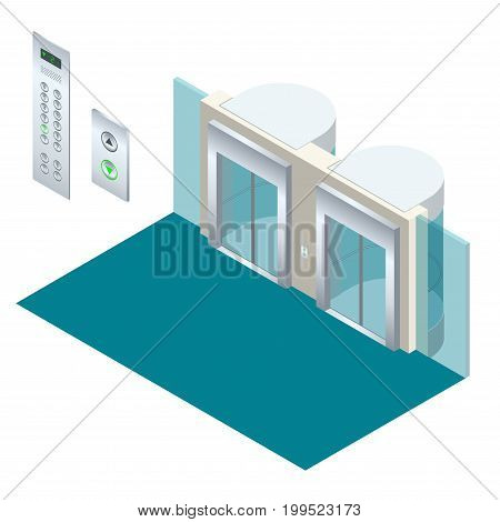 Isometric vector elevator lift isometric interior with contemporary style lift hall