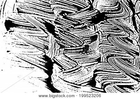 Grunge Soap Texture Invert. Distress Black And White Rough Foam Trace Outstanding Background. Noise