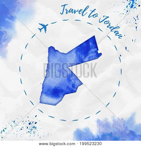 Jordan Watercolor Map In Blue Colors. Travel To Jordan Poster With Airplane Trace And Handpainted Wa