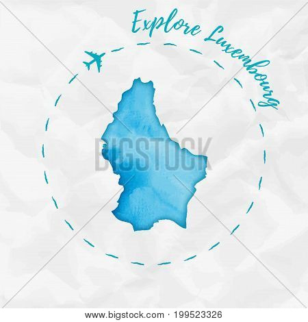 Luxembourg Watercolor Map In Turquoise Colors. Explore Luxembourg Poster With Airplane Trace And Han